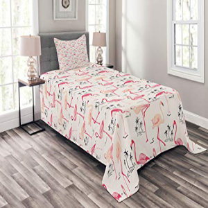 Ambesonne Flamingo Bedspread Set Twin Size, Flamingos in V
