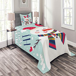 Ambesonne Christmas Bedspread Set Twin Size, Cheerful Merr