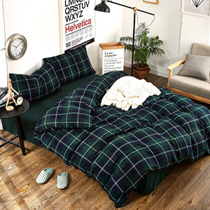 HIGHBUY Geometric Flannel Green Plaid Pattern Duvet Cover