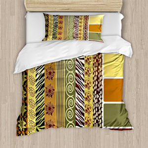 Ambesonne Zambia Duvet Cover Set, Vintage Mixed Pattern Ear