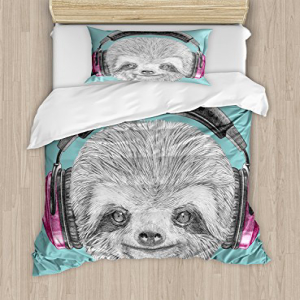 Ambesonne Sloth Duvet Cover Set, DJ Sloth Portrait with He