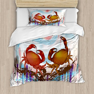 Ambesonne Crabs Duvet Cover Set Twin Size, Sea Animals The