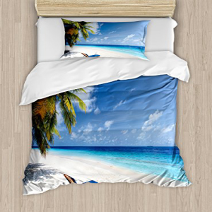 Ambesonne Seaside Duvet Cover Set Twin Size, Tropical Beac