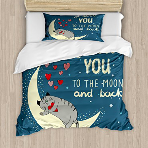Ambesonne I Love You Duvet Cover Set Twin Size, Sleepy Cat