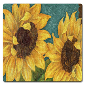 Sunshiny Day Bold Yellow Sunflowers Glass 10 Inch:Glomarket