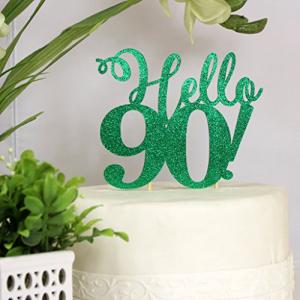 爆買いセール All About Details Hello 90 Cake Topper Birthday 90th Glitter キャンペーンもお見逃しなく Green Decor Party 1pc