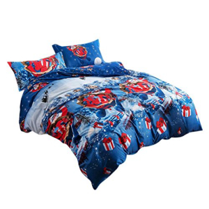 YOUSA Blue Bedding Set Kids Bedding for Christmas