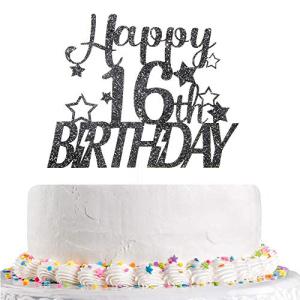 キラキラハッピー16歳の誕生日ケーキトッパースウィート16周年記念こんにちは16歳の男の子の女の子の誕生日パーティーの装飾用品 黒 Talorine Glitter Happy 16th Birthday Cake 爆買いセール Topper 16 Boys Anniversary Young Gir Hello Sixteen for 業界No.1 Sweet