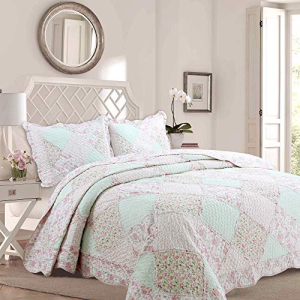 Cozy Line Home Fashions La Rosa 絶品 R ve Quilt 最新 Bedding Set Floral Pink Green Rose Coverlet Real 100% Twin Roses 3D - Flower Cotton Reversible Bedspread Piece 2 Patchwork