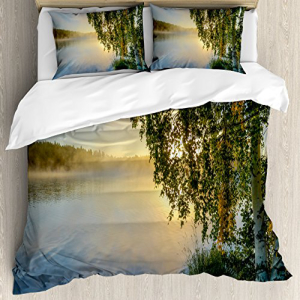 Ambesonne 人気ブレゼント! Nature Duvet Cover King Set Size Sunny 直営ストア