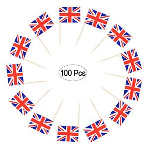 LUOEM 100PCS 結婚祝い British Flag Cu 全国一律送料無料 Toothpicks Union Jack