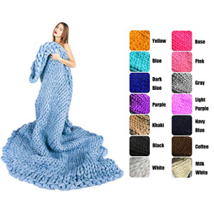 EASTSURE Chunky Knit Blanket Throw 即出荷 Sofa 5☆好評 Bulky Hand