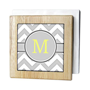 3dRose nh/_222101/_1 Grey And White Chevron With Yellow Monogram Initial D Napkin Holder 6-inch