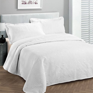 Fancy Linen LLC Fancy Collection 2pc Luxury Bedspread Coverlet Embossed Bed Cover Solid White New Over Size Twin/twin Xl:Glomarket
