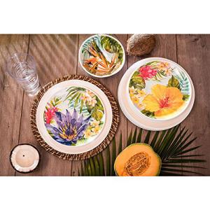 【大注目】 Melamine Dinnerware Tropical Design Set of 18 Piec, くもくもスクエア e105bfa2