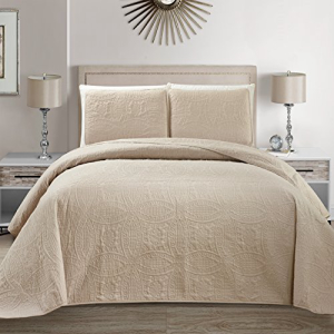 Mk Collection 3 pc Solid Bedspread 今だけスーパーセール限定 Embossed Bed-co 定価の67%OFF