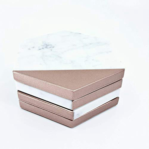 Rose Gold Marble Hexagon Drink Coasters for Housew:Glomarket