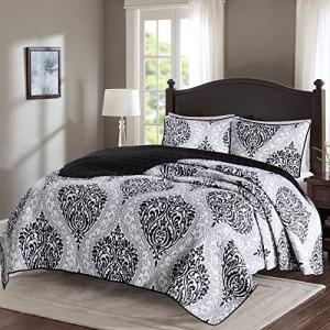 お気に入りの Comfort Spaces Coco 3 Piece Quilt Coverlet Bedspread Ultra Soft Printed Damask Pattern Hypoallergenic Bedding Set, King Size, Black White, グシカミソン 59dcd26e
