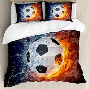 【日本製】 Ambesonne Sports Duvet Cover Set Ball Cover、Soccer Duvet Ball on Fir, こめの里本舗:25a799d2 --- feiertage-api.de