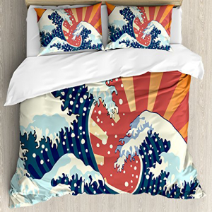 【開店記念セール!】 Ambesonne日本の波の羽毛布団カバーセット、日本の絵画のスタイ, HEAVENS:c81e92b2 --- technosteel-eg.com