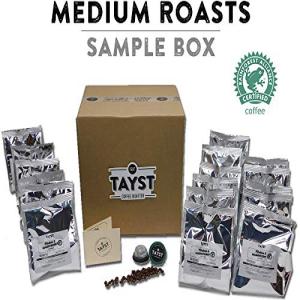 Taystミディアムローストコーヒーポッド| 240カラット。ミディアムサンプルボックス| 100%堆肥化可能なKeurigK-Cup互換| 地球にやさしいパッケージのグルメコーヒー Tayst Coffee Roaster Tayst Medium Roast Coffee Pods | 240 ct. Medium Sample Box
