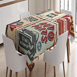 Ambesonne 1950s Tablecloth, Vintage Car Signs Auto:Glomarket