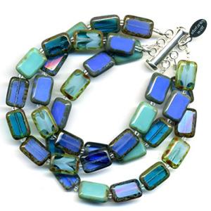 3-Strand Bracelet Beaded in Ocean Mix いつでも送料無料 訳あり C