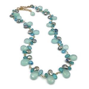 贈与 Aqua プレゼント Turquoise Multicolor Mixed Gemstone Cluster Ne