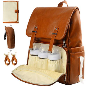 KZNI Leather Diaper Bag 即納最大半額 Backpack Nappy Baby Bags for Mom Unisex Maternity Straps Proof Adjustable Water with Brown Hanger Pockets LargeCapacity Shoulder 日本未発売 Stroller Thermal