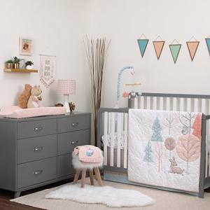 Carter's Woodland Meadow Forest Deer Owl 3 Piece 実物 Peach 爆安 Nursery Aqua Bedding Set White Crib