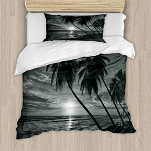 <title>Ambesonne Tropical Duvet Cover Set Twin Size Coconut 爆安プライス Palm Trees on Beach Bend by The Wind Horizon Over Sea Theme Picture Art A Decorative 2 Piece Bedding with 1 Pillow Sham Black and White</title>