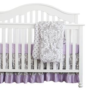 2021公式店舗 Sahaler 3 pcs Set Boho Floral Ruffle Baby Minky Blanket Baby Nursery Crib Skirt Set Baby Girl Crib Bedding (Grey Purple), 木島平村 ae1d075d