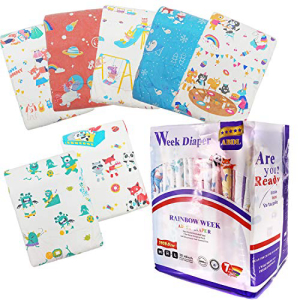 【国産】 TEN@NIGHT Adult Baby Brief Diapers ABDL Printed Rainbow Week Diaper DDLG 7 Pieces, ゴキちゃんグッバイ公式ショップ abfa10a5