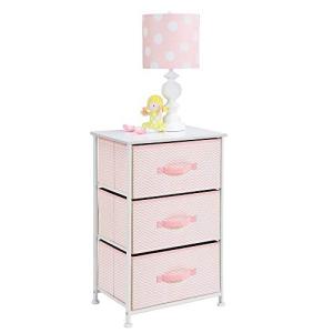 2021人気No.1の mDesign Vertical Dresser Storage Tower - Sturdy Steel Frame, Wood Top, Easy Pull Fabric Bins - Organizer Unit for Child/Kids Bedroom or Nursery - Chevron Zig-Zag Print - 3 Drawers - Pink/White, ウダグン 59481fe7