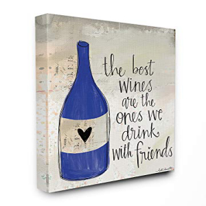 Stupell Industries Best Wines are Drank with Friends Blue 定番の人気シリーズPOINT(ポイント)入荷 Bottle Canvas 宅送 x Wall Heart 24 Multi-Color Art Doodle 30