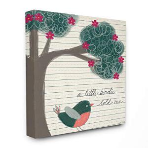【良好品】 The Kids Room By Stupell A Little Birdie Told Me Bird and Tree Hand Drawn Lined Paper Look, 30 x 40, Proudly Made in USA, 時計館 8bff5488