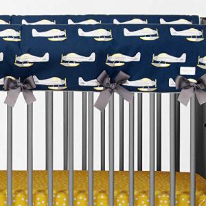 2021公式店舗 Glenna Jean First Flight Convertible Crib Rail Protector - Short (Set of 2) (Airplane Print), Blue, Standard, モンヴェール農山 ffe26cd3
