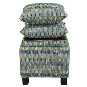 Madison Park Shelley Storage Ottoman with Reversible Tray Solid Wood 最安値挑戦 Polyester Fabric 新発売 Toy Organizer Pillow Modern Green below Abstract See Matching With Chest Style Footsool