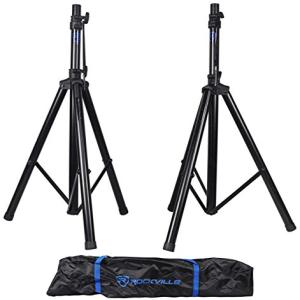 Pair Rockville RVES1 Adjustable Tripod DJ 買物 Stands+Carry Speaker 期間限定今なら送料無料 PA Universal Bag