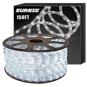 <title>SURNIE 宅配便送料無料 Led Rope Lights Outdoor 150ft Round Waterproof Daylight White Lighting 110V Flexible Cuttable Light Strip Backyards Garden Patio Bedroom Indoor Decoration</title>