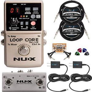 【NEW限定品】 NUX Loop Core Deluxe Looper Pedal Bundle with NUX NMP-2 Dual Footswitch, Blucoil 2-Pack of 9V AC Adapter, 2-Pack of 10-FT Straight Instrument Cables (1/4in), 2x Patch Cables, and 4x Guitar Picks, ベストワンオンラインショップ b73ac9d7