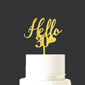Hi-Party Hello 30 Birthday Cake Topper Gold 高品質新品 Glitter Acrylic Happy from 激安価格と即納で通信販売 Supplies Old 30th Years Celebrating Thirty Decorations Party