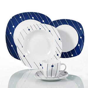 VEWEET 2020春夏新作 30-Piece Porcelain Square Tableware 無料サンプルOK Decal Patterns White Bowl Set with Dinner Dessert Service Plate Series for DOT and Soup 6 Saucer Mug
