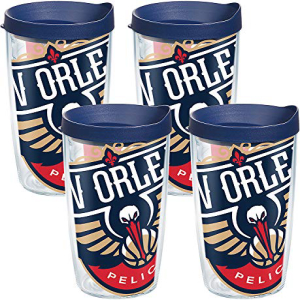 Tervis 1096794 送料無料 一部地域を除く NBA チープ New Orleans Pelicans Colossal Tumbler with and Clear Wrap 4 Navy Pack Lid 16oz