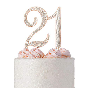 21 ROSEGOLDケーキトッパー プレミアムスパークリークリスタルラインストーンダイヤモンドジェム 21歳の誕生日パーティーの装飾のアイデア 高品質の金属合金 完璧な記念品 21ローズ 百貨店 Crystal Sparkl Creations Premium Topper ROSE 記念日 GOLD Cake