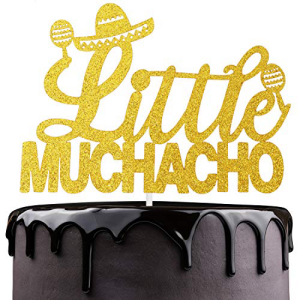 LHCING ◆在庫限り◆ Little Uno Muchacho Birthday Cake Topper - Boy Baby Shower Gender Sombrero 4年保証 On Glitter Reveal Decoration Party His Mexican Way Fiesta Gold