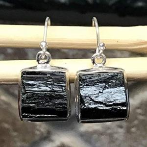 Silver by Tourmaline Natural Earrings Sterling 25mm Kala Rocks 925 Black Natural