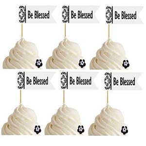 Celebrate Next 24pk Be Blessed Inspirational Guest Blessing 待望 Religious Wedding Appetizer Baptism Topper First 定番スタイル Cupcake Picks Christening Decoration Communion