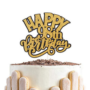 Chien-Min666 Glitter Happy 98th Birthday Cake Topper - Supplies-Best Years Ninety-Eight Keepsake Decoration 98 Old ☆正規品新品未使用品 Party 爆買い送料無料