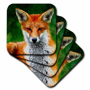 3dRose cst_172999_2 Red Fox Watercolor Painting from 中古 a Courtesy Photo Law-Soft Coasters of Set 8 Keven 特価キャンペーン